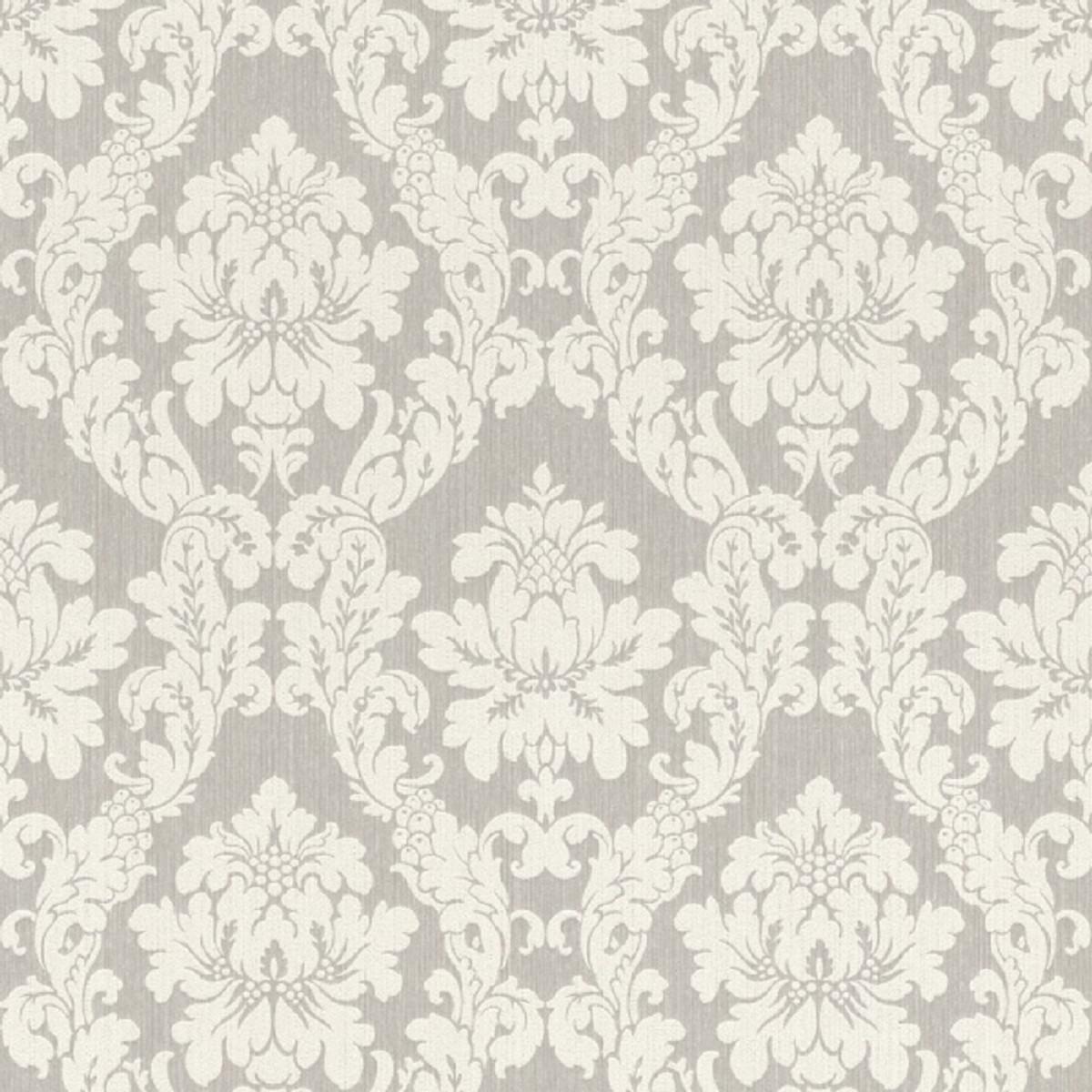 Casa Padrino Barock Textiltapete Weiß / Beige / Creme / Grau / Silber - 10,05 x 0,53 m - Stofftapete im Barockstil 1