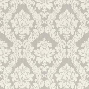 Casa Padrino Barock Textiltapete Weiß / Beige / Creme / Grau / Silber - 10,05 x 0,53 m - Stofftapete im Barockstil