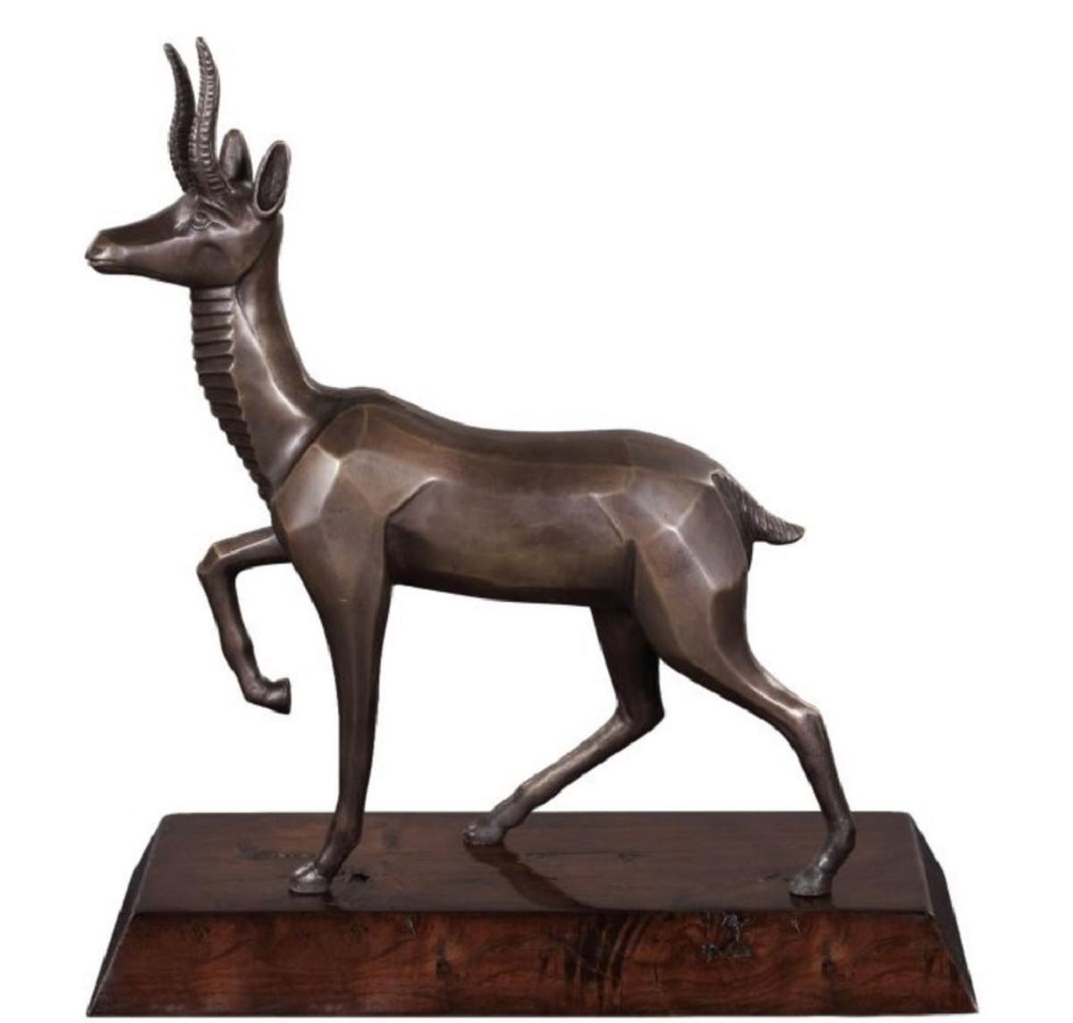 Casa Padrino Luxus Bronzefigur Antilope Bronze / Dunkelbraun 35 x 17 x H. 37 cm - Dekofigur mit Holzsockel  2