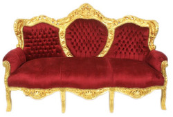 Casa Padrino Baroque 3 seater sofa King Bordeaux / Gold - Furniture