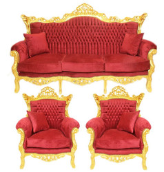 Casa Padrino Baroque Living Room Set Bordeaux velvet fabric / gold - 3 seater sofa + 2 armchairs