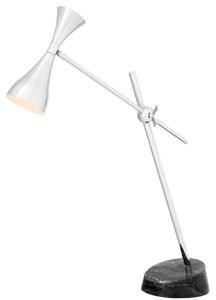 Casa Padrino Luxus Schreibtischleuchte Silber / Schwarz 21 x 65 x H. 87-92 cm - Büromöbel
