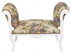 Casa Padrino baroque stool Stool Flower Pattern / Antique White - Bench - Baroque Furniture Bank