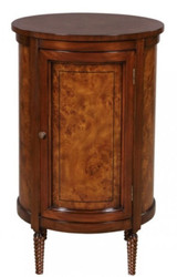 Casa Padrino luxury Art Nouveau chest of drawers light brown / brown Ø 57 x H. 82 cm - Small Round Cabinet with 2 Doors