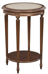 Casa Padrino luxury baroque side table brown / white Ø 47 x H. 70 cm - Baroque Living Room Furniture