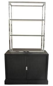 Casa padrino luxus wohnzimmerschrank schwarz silber 109 x 42 x h 201 cm luxus - Wohnzimmerschrank schwarz ...