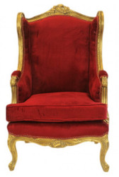 Casa Padrino Baroque Lounge Throne Armchair Bordeaux Red / Gold - Antique Style Ear-Chair