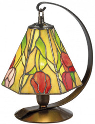 Casa Padrino Luxury Tiffany Table Lamp / Stool Lamp Roses Multicolor Ø 15 x H. 23 cm - Handmade Lamp of 94 Parts