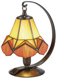 Casa Padrino Luxury Tiffany Table Lamp / Stool Lamp Yellow / Orange Ø 15 x H. 23 cm - Handmade Lamp of 36 Parts