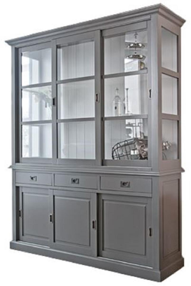 Casa Padrino armadio stile country grigio antico / bianco 180 x 50 x H. 220  cm - Mobili in Stile Country