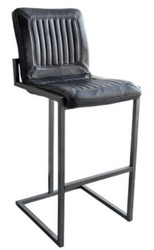 Casa Padrino Luxury Barstool Vintage Black / Gray 48 x 60 x H. 115 cm - Bar Stool with Buffalo Leather