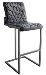 Casa Padrino Luxury Barstool Vintage Black / Gray 49 x 60 x H. 114 cm - Bar Stool with Buffalo Leather