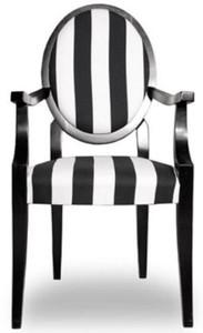 Casa Padrino chaise de salle à manger baroque médaillon rayé noir / blanc  55 x 60 x H. 99 cm - Chaise de Cuisine avec Accoudoirs