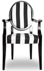 Casa Padrino Baroque Dining Chair Medallion Striped Black / White 55 x 60 x H. 99 cm - Kitchen Chair with Armrests