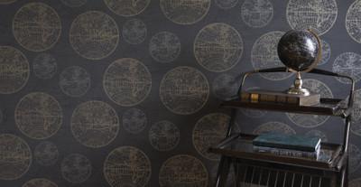 Casa Padrino Luxus Papiertapete Weltkugeln Anthrazit - 10,05 x 0,53 m - Edle Mustertapete – Bild 2