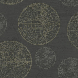Casa Padrino Luxury Paper Wallpaper World Globes Anthracite - 10.05 x 0.53 m - Elegant Pattern Wallpaper