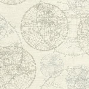Casa Padrino Luxus Papiertapete Weltkugeln Creme - 10,05 x 0,53 m - Edle Mustertapete – Bild 1