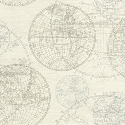 Casa Padrino Luxury Paper Wallpaper World Globes Cream - 10.05 x 0.53 m - Elegant Pattern Wallpaper