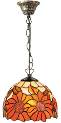 Casa Padrino Luxury Tiffany Hanging Lamp Sunflowers Orange / Multicolor Ø 20 x H. 78 cm - Handmade Pendant Lamp of 135 Parts