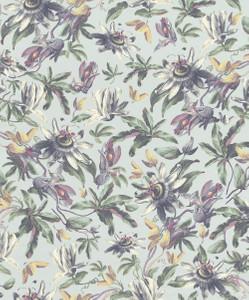 Casa Padrino Luxus Papiertapete Pflanzen Hellblau / Mehrfarbig - 10,05 x 0,53 m - Tapete Mustertapete Botanisch Blumen  – Bild 1
