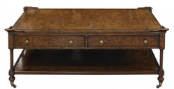 Casa Padrino Luxury Art Nouveau Coffee Table Brown 125 x 81 x H. 48 cm - Coffee Table with Casters and 2 Drawers