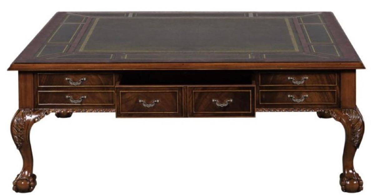 Casa padrino luxus barock wohnzimmertisch dunkelbraun gr n 130 x 130 x h 49 cm couchtisch - Wohnzimmertisch dunkelbraun ...