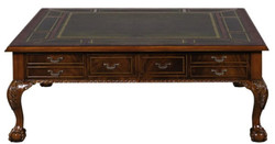 Casa Padrino Luxury Baroque Living Room Table Dark Brown / Green 130 x 130 x H. 49 cm - Coffee Table with 24 Drawers