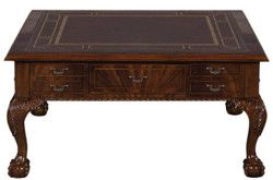 Casa Padrino luxury baroque living room table dark brown / brown 100 x 100 x H. 49 cm - Coffee Table with 20 Drawers
