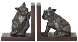 Casa Padrino Luxury Bookend Set Cat & Dog Bronze / Brown 18 x 18 x H. 10 cm - Deco Bronze Figures with Wooden Base