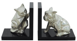 Casa Padrino Luxury Bookend Set Cat & Dog Silver / Black 18 x 18 x H. 10 cm - Deco Bronze Figures with Wooden Base