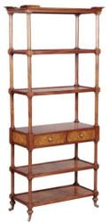Casa Padrino Luxus Jugendstil Bücherschrank Braun / Dunkelbraun 81 x 40 x H. 182 cm - Regalschrank mit Rollen und 2 Schubladen