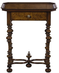 Casa Padrino Luxury Baroque Side Table with Drawer Brown / Dark Brown 58 x 42 x H. 69 cm - Baroque Furniture