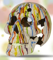 Casa Padrino Skulptur Totenkopf Skull Pop Art weiß / bunt aus Gussmetall - Deko Figur