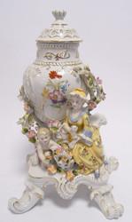 Casa Padrino Baroque Porcelain Vase with Lid - Rococo Antique Style