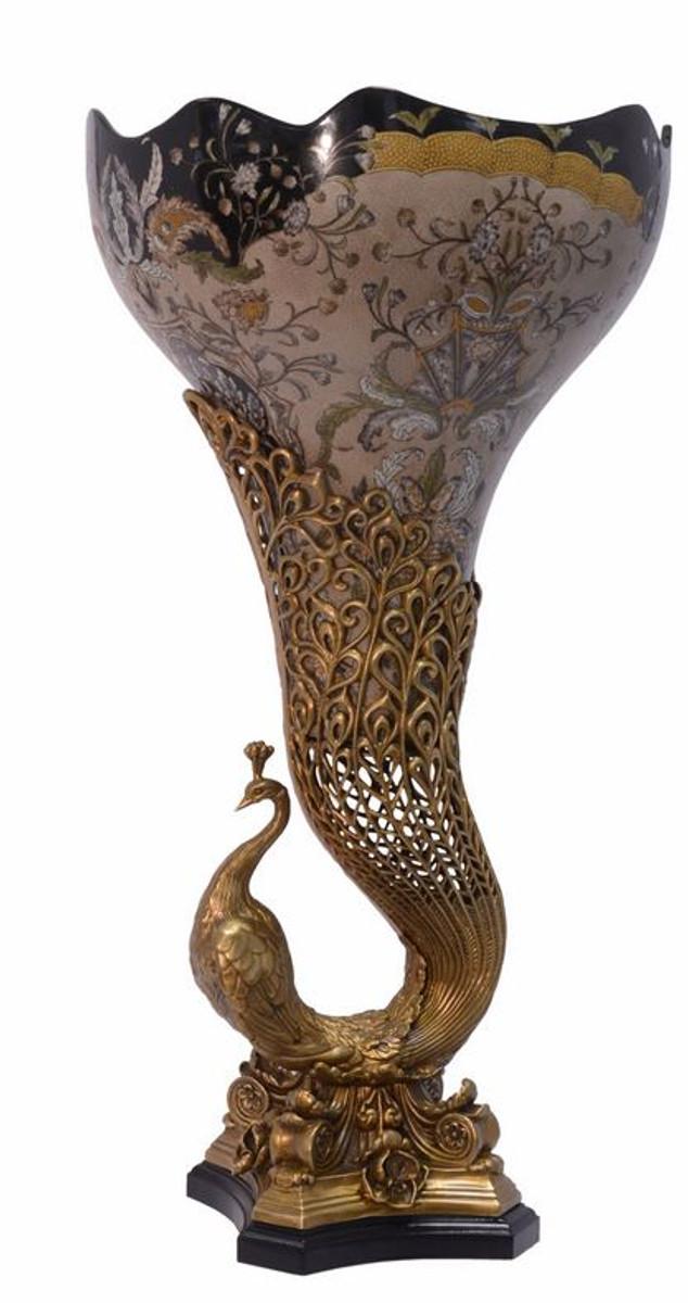 Casa Padrino Jugendstil Vase Pfau Messing Porzellan 37 5 X H 72 Cm