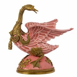 Casa Padrino Baroque sculpture goose rose / gold - brass / porcelain 33.4 x 22.8 x H 38.7 cm Mod2 - Rococo antique style Art Nouveau figurine