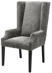 Casa Padrino Luxury Dining Chair Gray / Black 63 x 76 x H. 115 cm - High-Backed Dining Chair with Armrests