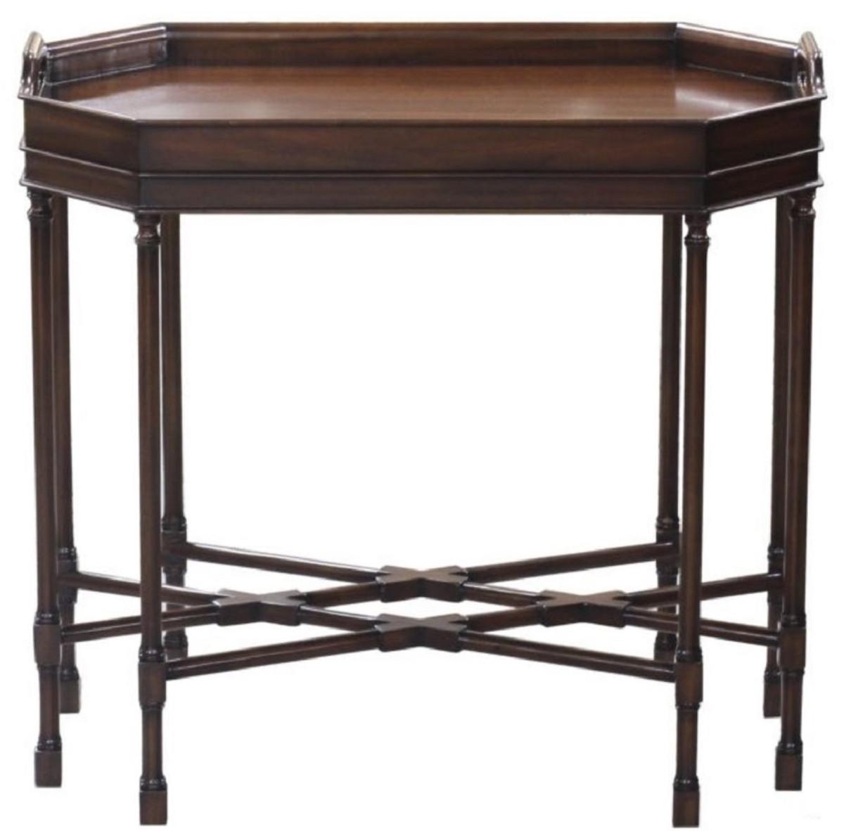 Casa padrino luxus couchtisch serviertisch dunkelbraun 66 x 41 x h 62 cm mahagoni - Wohnzimmertisch dunkelbraun ...