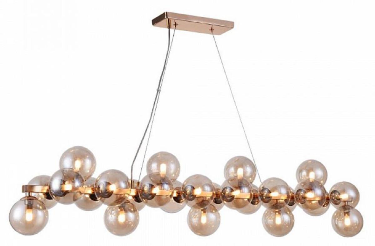 Casa Padrino Designer Hängeleuchte Gold 123,5 x 23,8 x H. 22,8 cm - Moderne  Wohnzimmerlampe mit bernsteinfarbenem Glas