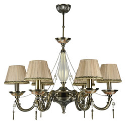 Casa Padrino Baroque Chandelier Bronze / Peach Ø 75 x H. 75 cm - Magnificent Chandelier in Baroque Style