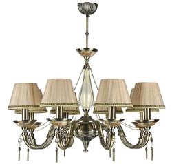 Casa Padrino Baroque Chandelier Bronze / Peach Ø 77 x H. 75 cm - Magnificent Chandelier in Baroque Style