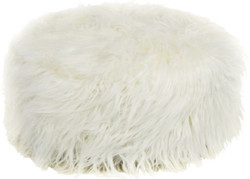 Casa Padrino Designer Fur Stool White Ø 50 x H. 21 cm - Round Stool with Faux Fur