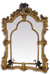 Casa Padrino Baroque Mirror Gold / Black 101 x H. 138.5 cm - Magnificent Wall Mirror in Baroque Style