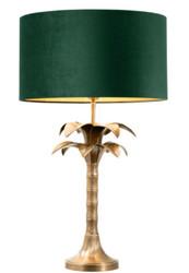 Casa Padrino luxury table lamp vintage brass / green Ø 45 x H. 76 cm - Living Room Lamp in Palm Tree Design