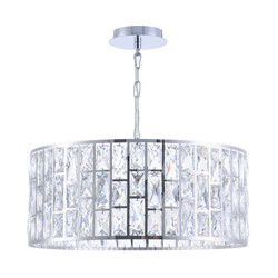 Casa Padrino Luxury Chandelier Silver Ø 50 x H. 21.2 cm - Elegant Chandelier with Crystal Glass
