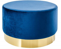 Casa Padrino Designer Round Stool Blue / gold B. 55 x H. 35 cm - Living room furniture