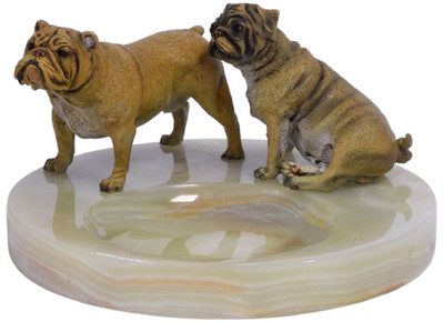 Casa Padrino luxury ashtray with bronze figures multicolor Ø 19.9 x H. 10.7 cm - Onyx Natural Stone Ashtray with 2 Decorative Bronze Dogs – Bild