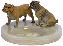 Casa Padrino luxury ashtray with bronze figures multicolor Ø 19.9 x H. 10.7 cm - Onyx Natural Stone Ashtray with 2 Decorative Bronze Dogs