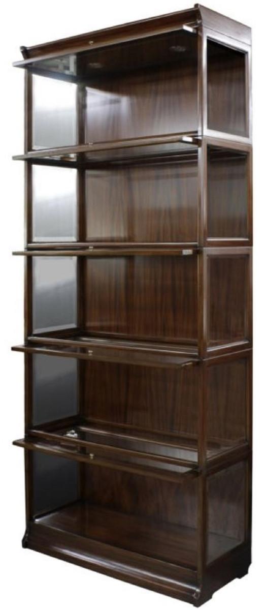 casa padrino luxus mahagoni b cherschrank mit 5 glast ren und led beleuchtung dunkelbraun 90 x. Black Bedroom Furniture Sets. Home Design Ideas