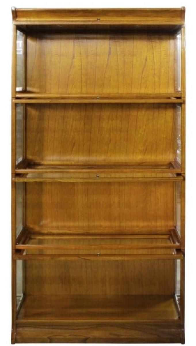 Casa Padrino Luxus Bucherschrank Mit 4 Glasturen Und Led Beleuchtung Hellbraun 90 X 39 X H 182 Cm Buroschrank Schranke Luxus Schranke